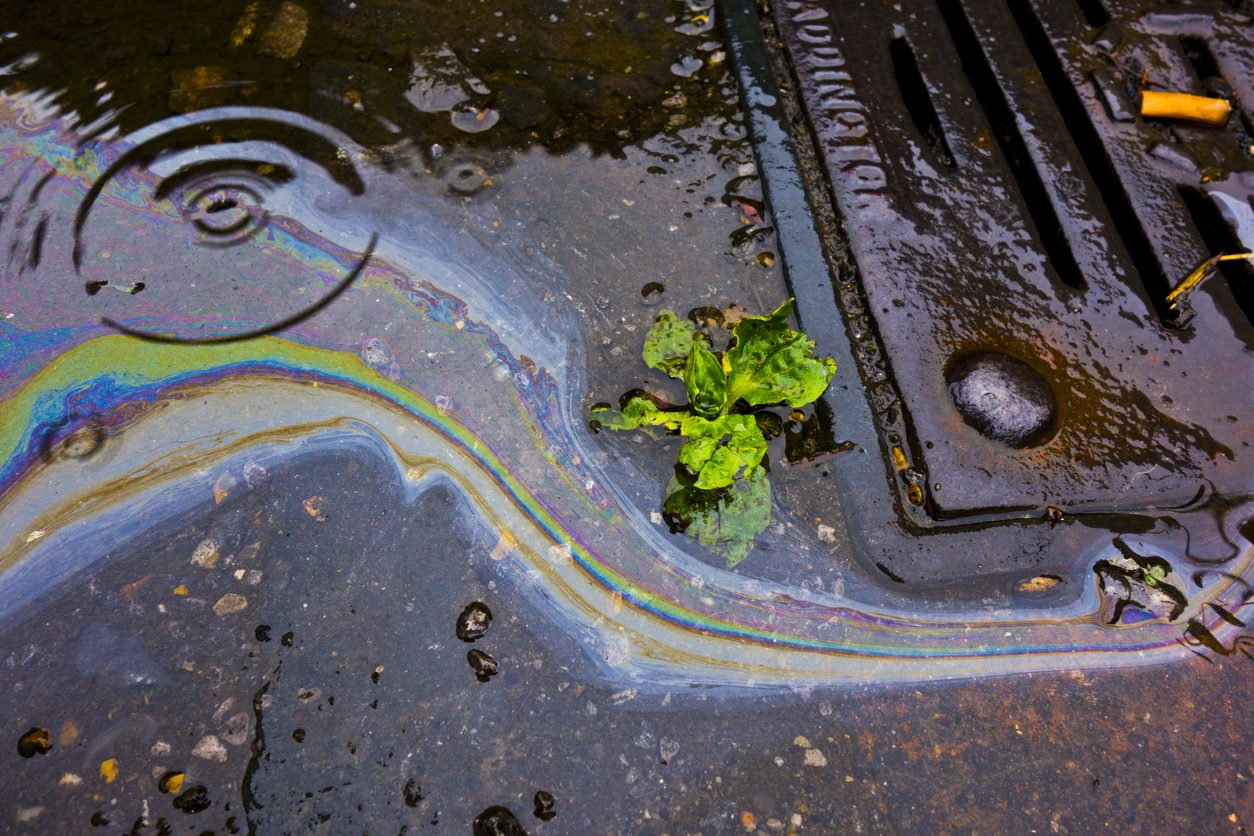 Petrol Oil In Water Running Down the Drain