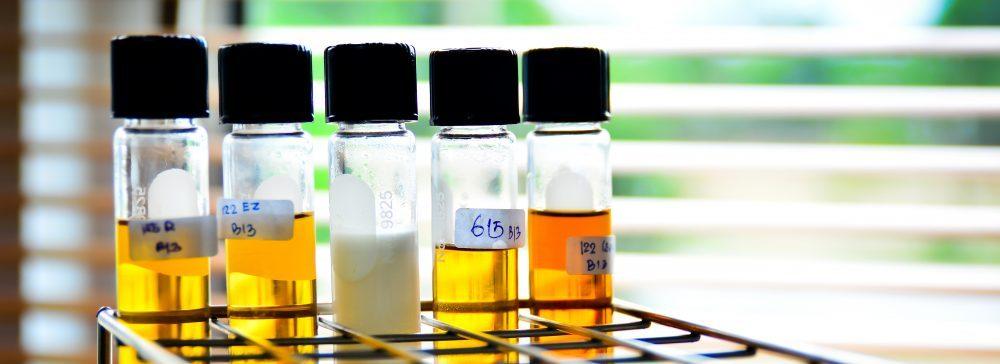 oil analysis test tubes in metal rack