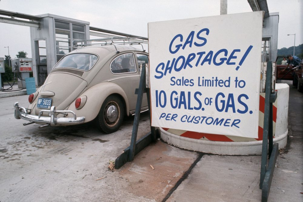 Cars wait in the long lines during the gas shortage.